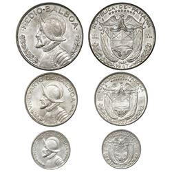 Lot of three Panama silver coins of 1947 (1/2, 1/4 and 1/10 balboa), ex-Richard Stuart.