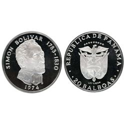 Panama (struck by the Franklin Mint), 20 balboas, 1974, Simon Bolivar, NGC PF 68 Ultra Cameo.