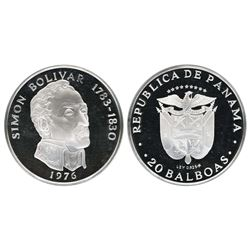 Panama (struck by the Franklin Mint), 20 balboas, 1976, Simon Bolivar, NGC PF 69 Ultra Cameo.