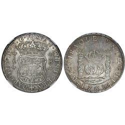Lima, Peru, pillar 8 reales, Ferdinand VI, 1769JM, dot over left mintmark only, unalike crowns, NGC