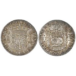 Lima, Peru, pillar 8 reales, Charles III, 1770JM, dot over left mintmark only, engraved with script-