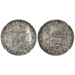 Lima, Peru, pillar 4 reales, Ferdinand VI, 1756/5JM, NGC XF 45, finest and only example in NGC censu