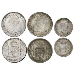 Lot of three Peru bust 2R (two) and 1R (one): 2R, 1773MJ and 1774JM; 1R, Cuzco, 1824T.