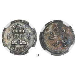 Lima, Peru, 1/4 real, 1821, NGC MS 63, finest known in NGC census.