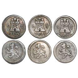 Lot of three Lima, Peru, 1/4R: 1820, 1821/20, 1821.