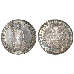 Lima, Peru, 8 reales, 1836MT, NGC AU 55.