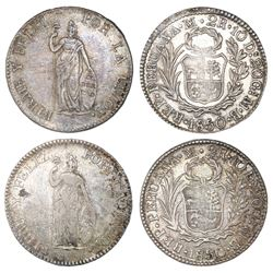 Lot of two Lima, Peru, 2 reales, 1850MB.