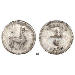Lima, Peru, 1/4 real, 1826, NGC MS 64.