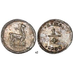 Lima, Peru, 1/4 real, 1834/3, NGC MS 62, finest and only example in NGC census.