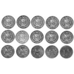 Lot of fifteen Peru, copper-nickel 5 soles, 1969, strike-pressure progression set, unique.