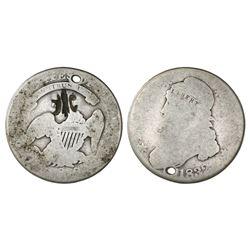 Puerto Rico (under Spain), half dollar, fleur-de-lis countermark (1884) on a USA (Philadelphia mint)