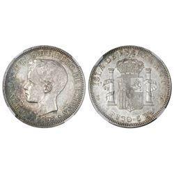 Puerto Rico, 1 peso, Alfonso XIII, 1895PG-V, NGC MS 61.