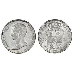 Madrid, Spain, 20 reales de vellon, Joseph Napoleon, 1810AI, large eagle, NGC AU 58.