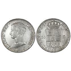 Madrid, Spain, 20 reales de vellon, Joseph Napoleon, 1810AI, large eagle.
