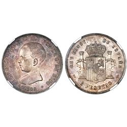 Madrid, Spain, 5 pesetas, Alfonso XIII, 1888MP-M, with 18-88 inside six-point stars, NGC MS 62.