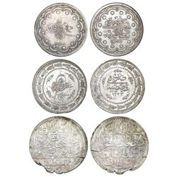 Lot of three Turkey coins: 20 piastres, AH1255/8 (1846); 6 piastres, AH1223/27 (1833); 1 kurus, AH11