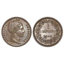 Venezuela, 1/4 centavo, 1843-WW, NGC AU 58 BN.