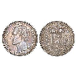 Venezuela, (20 centavos), 1874-A, NGC XF 45.