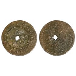 Dominica, three halfpence, ca. 1798, diamond-shaped hole punch in center of a French Cayenne copper