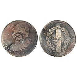 Guadeloupe, G-in-indented-circle countermark (ca. 1803) on a French copper 2 sols 1791-A.