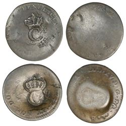 Lot of two French West Indies, copper crowned-C stampees (ca. 1763) on French colonial 2 sous of the