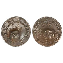 Montserrat, three halfpence, ca. 1801, M countermark on reverse of a French Cayenne copper 2 sous, 1
