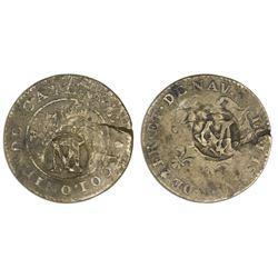 Montserrat, three halfpence, ca. 1801, M countermark on Nevis-countermarked French Cayenne copper 2