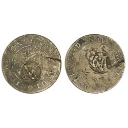Montserrat, three halfpence, ca. 1801, M countermark on Nevis-countermarked French Cayenne copper 2