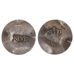 Nevis, three halfpence, ca. 1801, NEVIS countermark on reverse of a French colonial copper crowned-C
