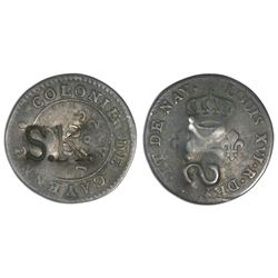 St. Kitts, three halfpence, ca. 1801, incuse S.K. countermark on the reverse of a French Cayenne cop