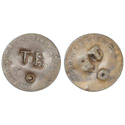 Tobago, twopence-farthing, ca. 1798, incuse TB/o countermark on a French colonial copper crowned-C s