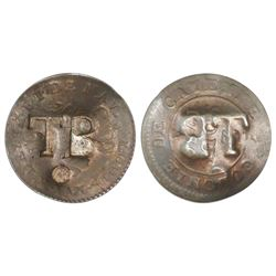 Tobago, three halfpence, ca. 1798, incuse TB/o countermark on a French Cayenne copper 2 sous, 1789-A