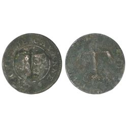 Tortola, three halfpence, ca. 1801, incuse T countermark on a French Cayenne copper 2 sous, ex-Pridm