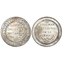 Argentina (struck in Potosi), large silver medal, 1812, Battle of Tucuman, rare.