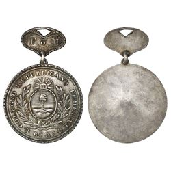 Buenos Aires, Argentina, uniface silver medal, (1845), Colegio Republicano Federal, with hanger at t