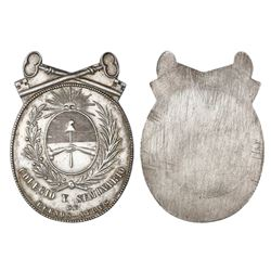 Buenos Aires, Argentina, uniface oval silver medal, (1854), Colegio y Seminario de Buenos Aires, wit