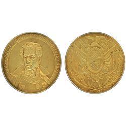 Bolivia, large 18K-gold medal specimen, 1925, centennial, Sucre, PCGS SP62 Matte.