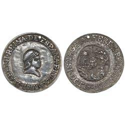 Trinidad, Cuba, silver proclamation medal, Isabel II, 1834, PCGS Genuine.