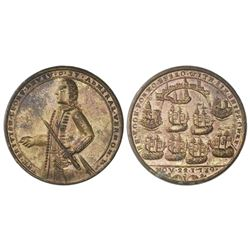 Great Britain, copper alloy Admiral Vernon medal, 1739, Porto Bello, Vernon alone.