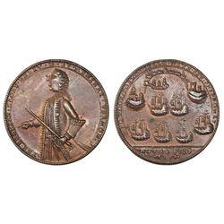 Great Britain, copper alloy Admiral Vernon medal, 1739, Porto Bello, Vernon alone.