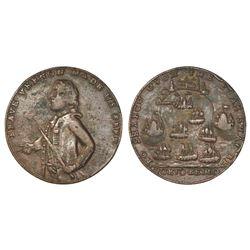 Great Britain, small-size copper alloy Admiral Vernon medal, 1739, Porto Bello, Vernon alone.