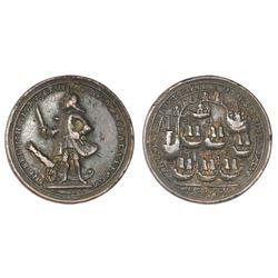 Great Britain, small-size copper alloy Admiral Vernon medal, 1739, Porto Bello, Vernon and icons.