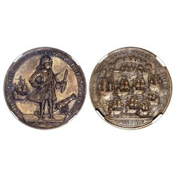Great Britain, copper alloy Admiral Vernon medal, 1739, Porto Bello, NGC AU 58, ex-Falcone (stated o