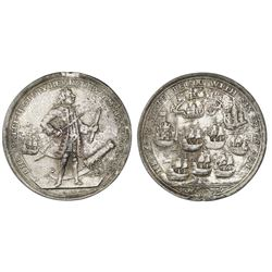 Great Britain, copper alloy Admiral Vernon medal, 1739, Porto Bello, Vernon and icons.