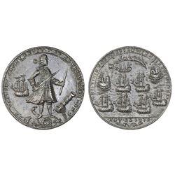 Great Britain, copper alloy Admiral Vernon medal, 1739, Porto Bello, Vernon and icons.