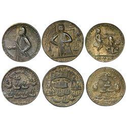 Lot of three Great Britain copper alloy Admiral Vernon medals, 1739, Porto Bello / Fort Chagre / Don