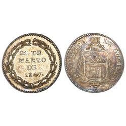 Guatemala, 1R-sized silver medal, 1847, Carrera, NGC AU details / reverse damage.