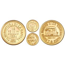 Guatemala, gold medal, 1884, Rufino Barrios, first locomotive in the capital city, rare.