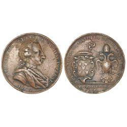 Guadalajara, Mexico, bronze proclamation medal, Charles III, 1760, Guadalajara Cathedral.