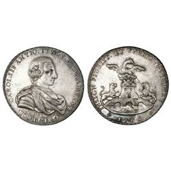 Mexico City, Mexico, silver proclamation medal, Charles III, 1760, city arms, rare.